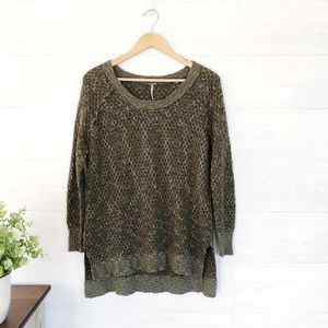 Free People Green Blue Cable Knit Sweater